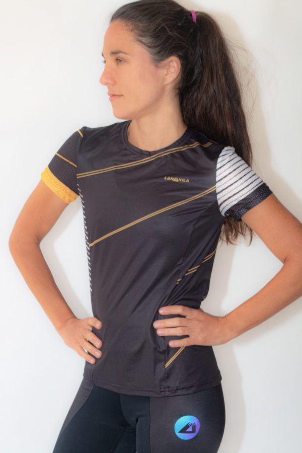 Lanakila Performance T for Running- black_gold - recycled